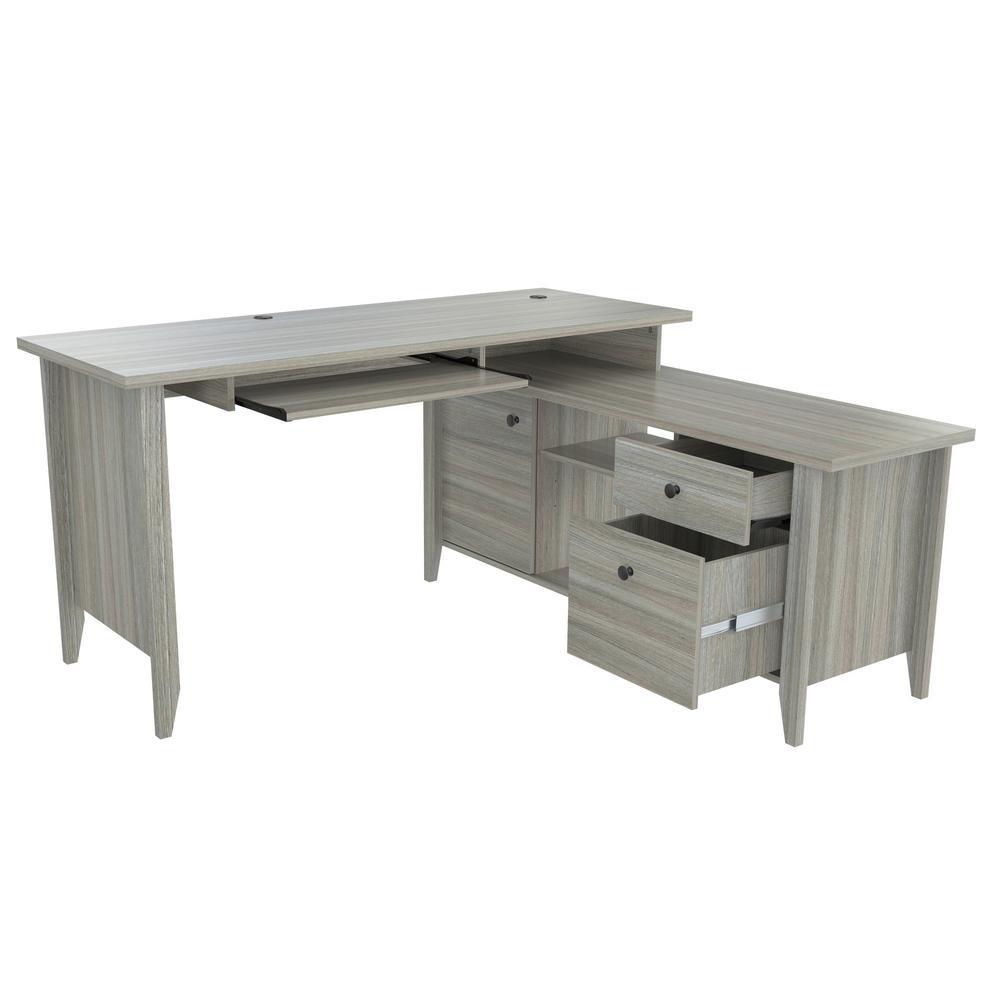 59 in. Smoke Oak L-Shaped 2 -Drawer Computer Desk with Keyboard Tray