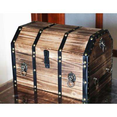 Large Wooden Decorative Pirate Lockable Trunk with Lion Rings