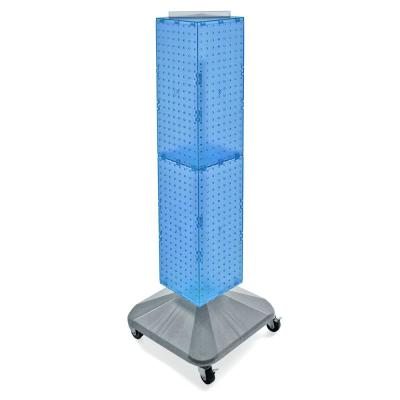 40 in. H x 8 in. W Pegboard Tower Blue Styrene with Revolving Base