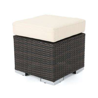 Iliana Multibrown Wicker Outdoor Ottoman with Beige Cushion
