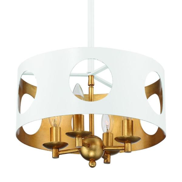 Odelle 4-Light Matte White and Antique Gold Pendant