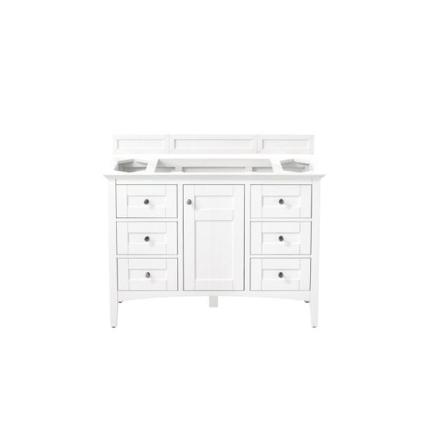 Palisades 48 in. Single Bath Vanity in Bright White with Marble Vanity Top in Carrara White with White Basin