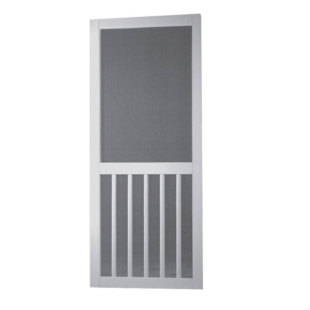 Screen Tight 30 in. x 80 in. Solid Vinyl White 5-Bar Screen Door