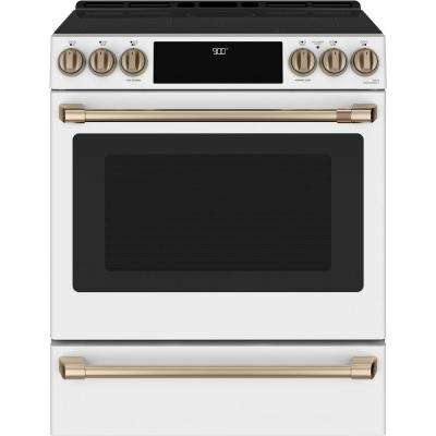 30 in. 5.7 cu. ft. Slide-In Induction Range with Steam-Cleaning, Convection Oven in Matte White, Fingerprint Resistant