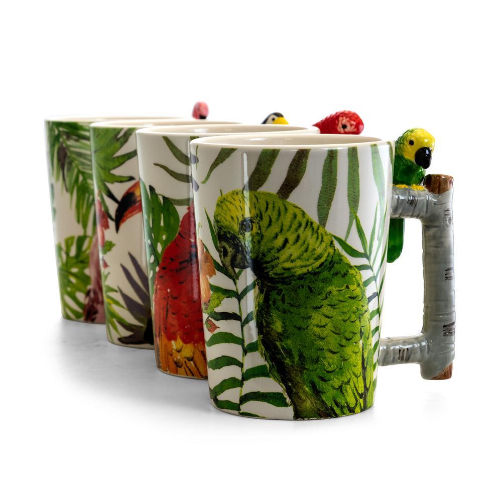 GibsonHome Gibson Home Tropical Bird 19.5 fl. oz. Assorted Color Durastone Mug (Set of 4), Assorted Colors