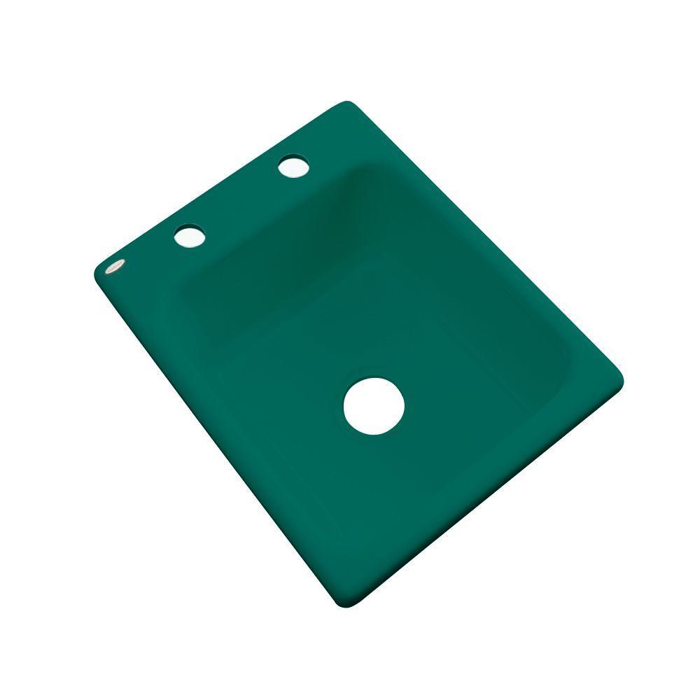 Crisfield Drop-In Acrylic 17 in. 2-Hole Single Bowl Prep Sink in Verde