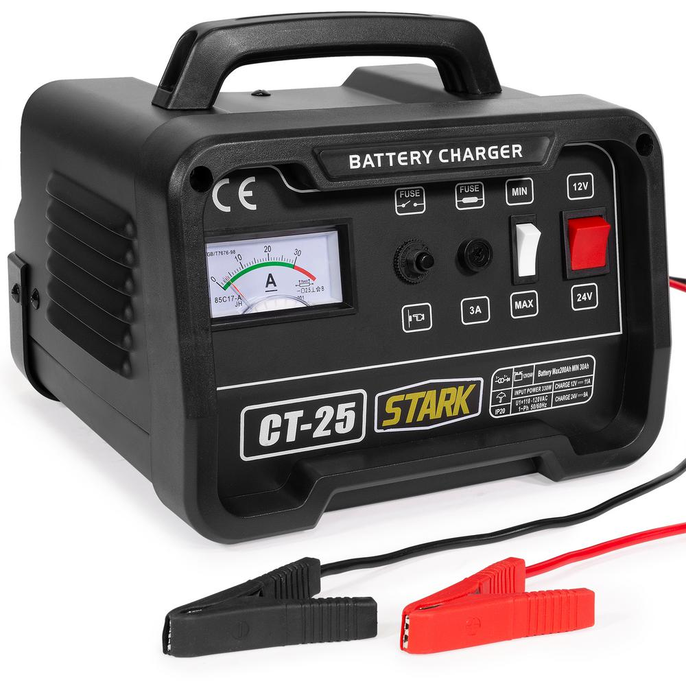 Stark 12 24 Volt 10 25 Amp Automotive Engine Booster Battery Charger For Car Boat Ce Listed 21530 H The Home Depot