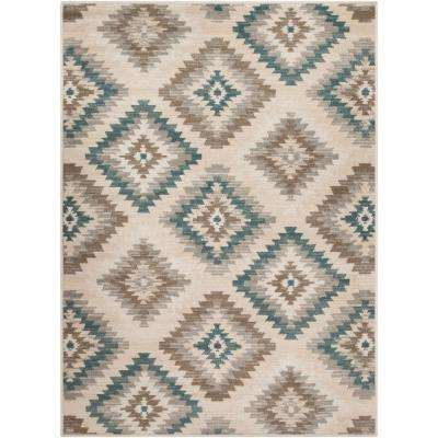 Eveline Teal 7 ft. 10 in. x 10 ft. 3 in. Ikat Area Rug