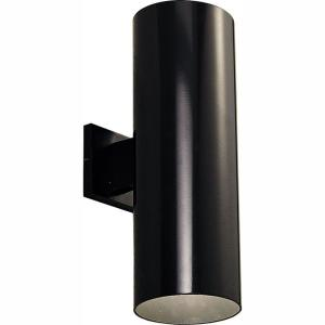 2-Light Black Integrated LED 18 in. Outdoor Wall Mount Cylinder Light
