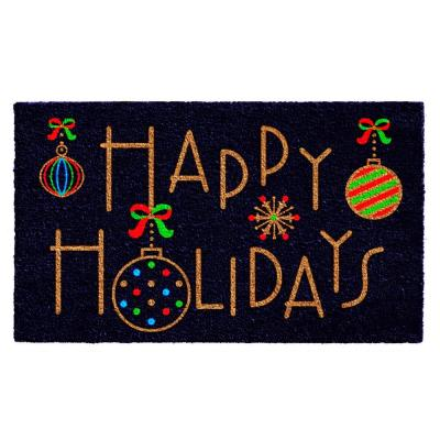 Happy Holidays 17 in. x 29 in. Coir Door Mat