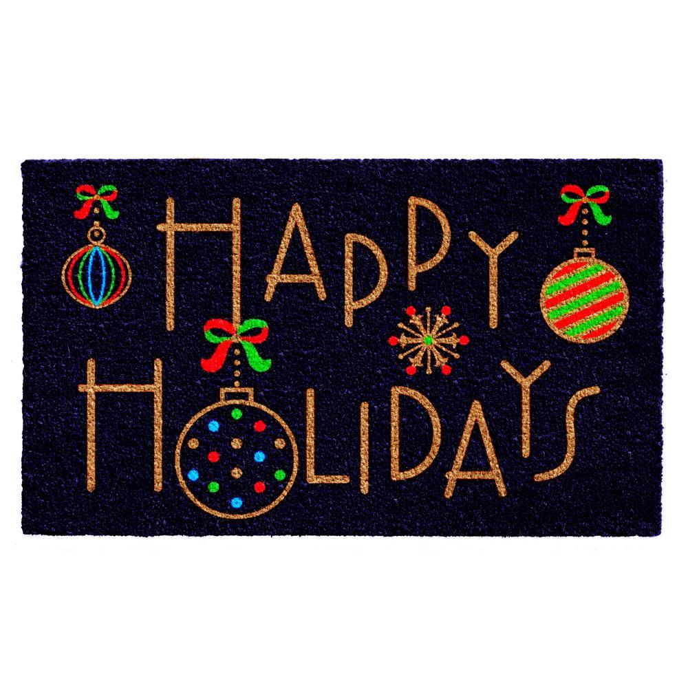 Happy Holidays 17 in. x 29 in. Coir Door Mat