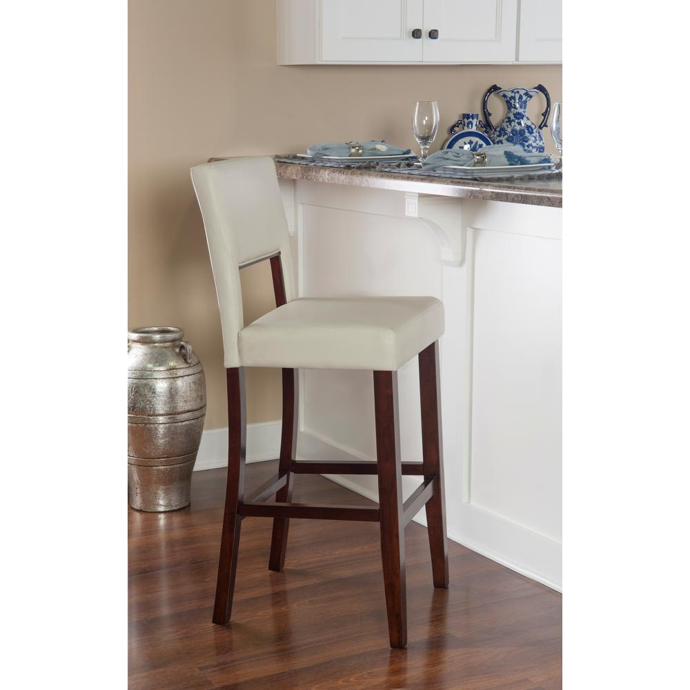 Linon home decor milano 30 in cream cushioned bar stool 0211crm01u the home depot - Decorative stools and benches ...