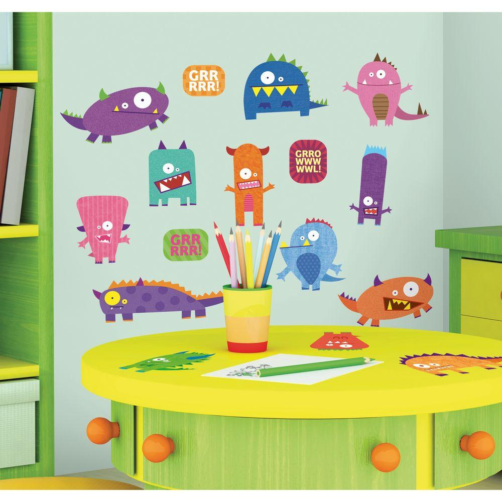 10 in. x 18 in. Monsters 35-Piece Peel and Stick Wall