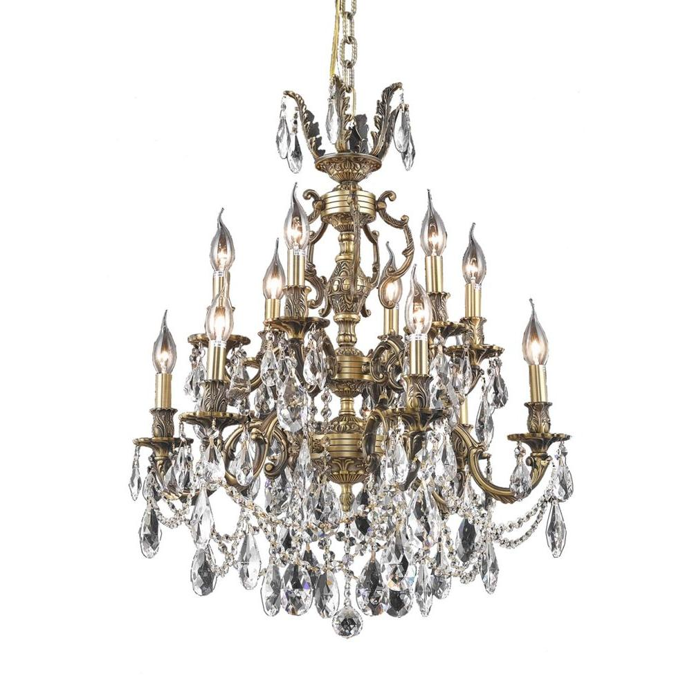 Elegant Lighting 12-Light French Gold Chandelier with Clear Crystal