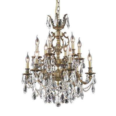12-Light French Gold Chandelier with Clear Crystal