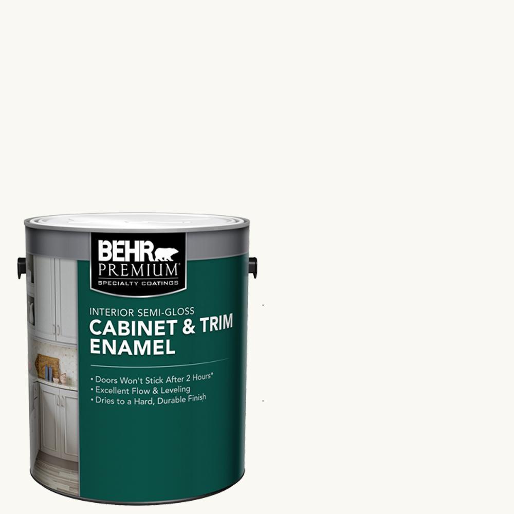 BEHRPREMIUM BEHR Premium 1 gal. Ultra-Pure White Base Semi-Gloss Interior Cabinet and Trim Paint