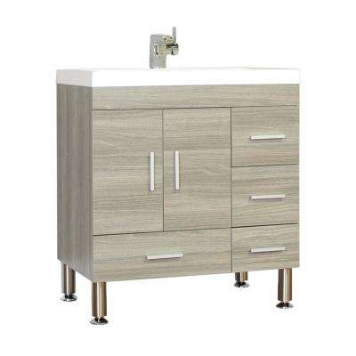 Ripley 29.37 in. W x 19 in. D x 32.87 in. H Vanity in Gray with Acrylic Vanity Top in White with White Basin