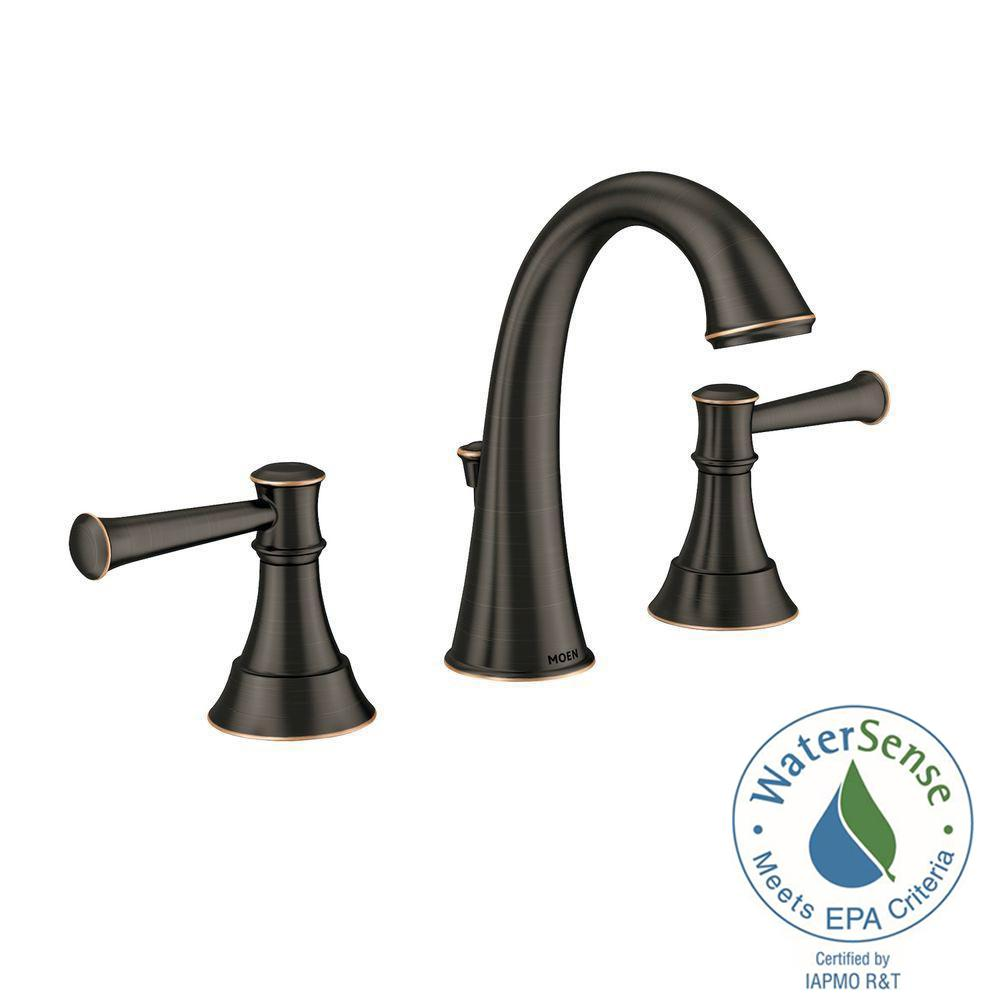 MOEN Ashville 8 in. Widespread 2-Handle High-Arc Bathroom Faucet ...