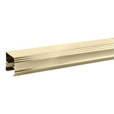 60 in. Semi-Frameless Traditional Sliding Bathtub Door Track Assembly Kit in Polished Brass