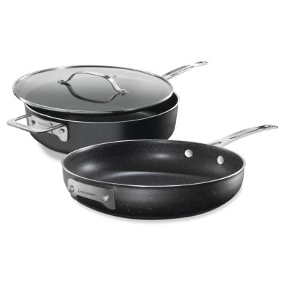 3–Piece Aluminum StackMaster Non–Stick Diamond Infused Cookware Set