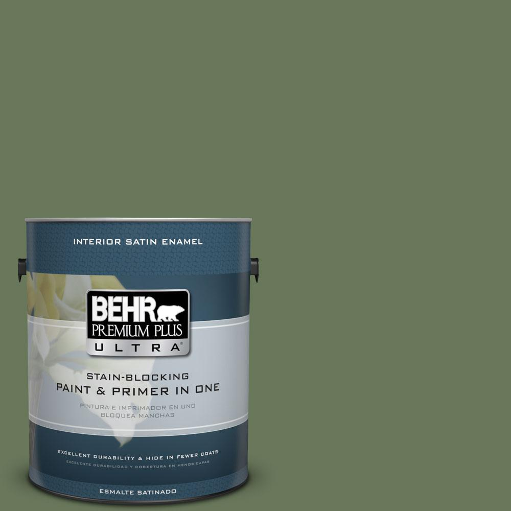 BEHR Premium Plus Ultra 1-Gal. #PPU10-1 Scallion Satin Enamel Interior Paint