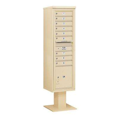 3400 Series 72 in. Max Height Unit Sandstone 4C Pedestal Mailbox with 9 MB1 Doors/1 PL