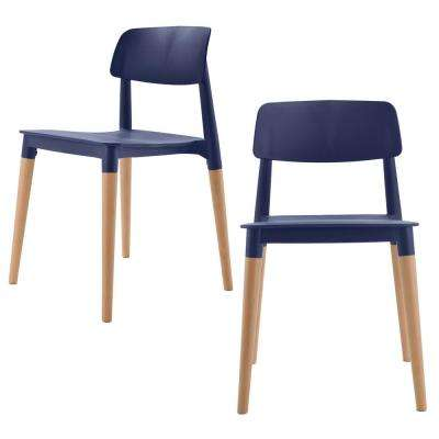 Bel Series Navy Modern Accent Dining Side Chair with Beech Wood Leg (Set of 2)