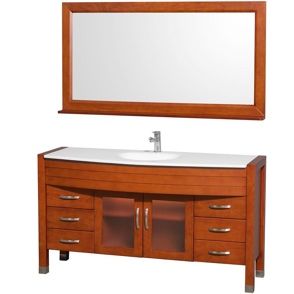 Daytona 60 in. Vanity in Cherry with Man-Made Stone Vanity Top