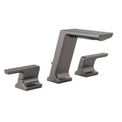 Pivotal 8 in. Widespread 2-Handle Bathroom Faucet with Metal Drain Assembly in Black Stainless