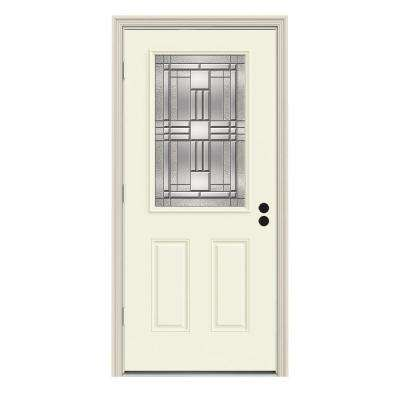 Cordova Classic 1/2 Lite Painted Steel Prehung Front Door with Brickmold