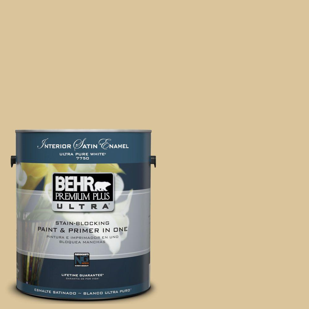 BEHR Premium Plus Ultra 1-Gal. #UL160-6 Straw Basket Interior Satin Enamel Paint