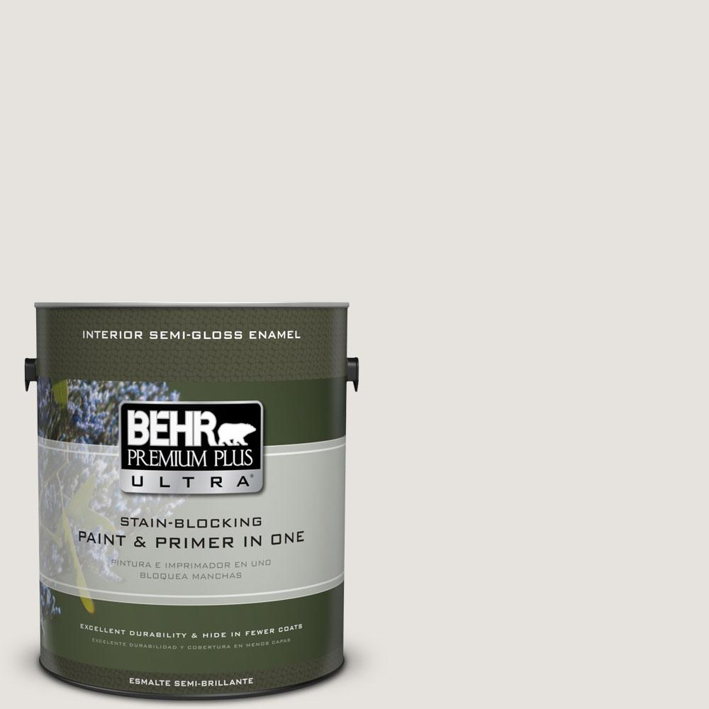 BEHR Premium Plus Ultra 1-gal. #PPU18-8 Painter's White Semi-Gloss Enamel Interior Paint