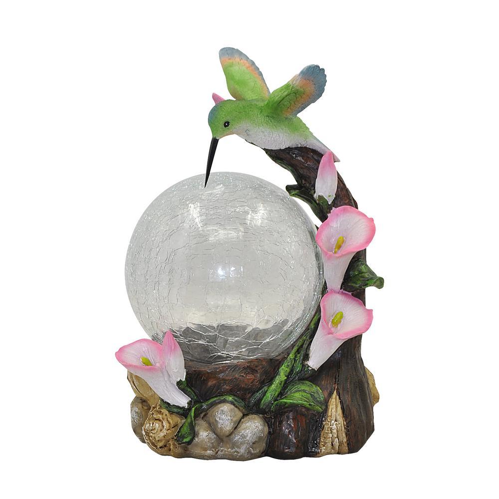 Moonrays Hummingbird Globe Garden Statue with Solar Power...