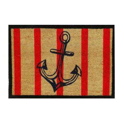 A1HC First Impression Anchor Stripe 18 in. x 30 in. Coir Door Mat