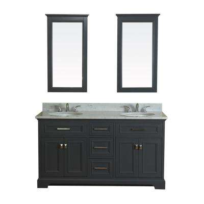 Yorkshire 61 in. W x 22 in. D Vanity in Gray with Marble Vanity Top in White with White Basin and Mirror