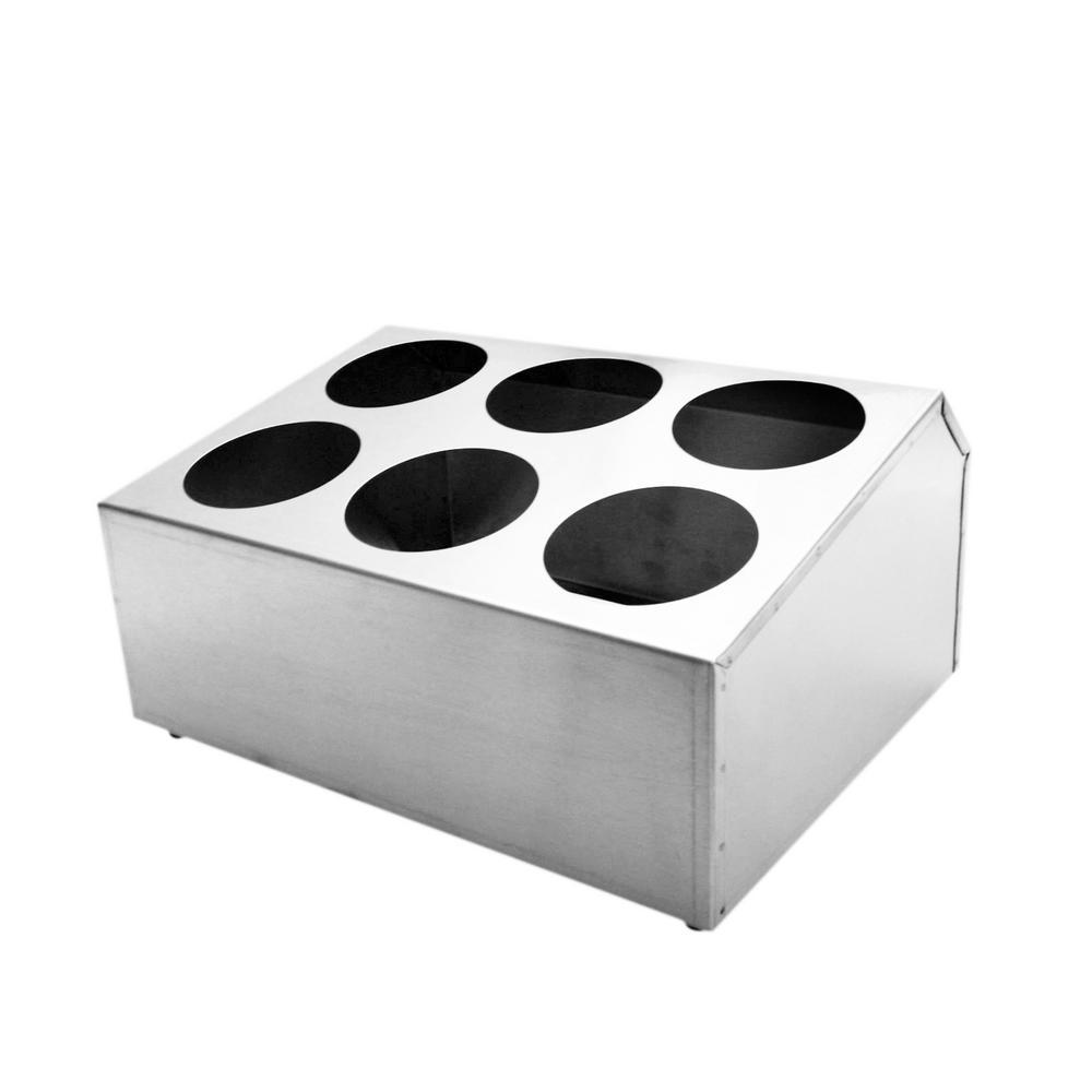 6-Holes Stainless Steel Flatware Cylinder Holder