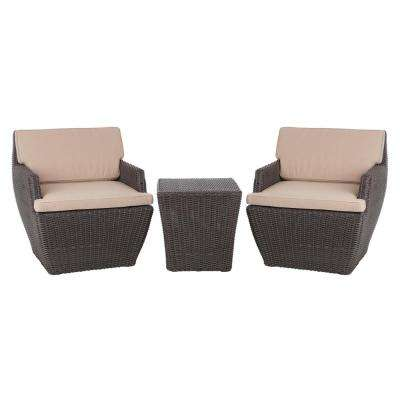 Bel Cubo 3-Piece Square Wicker Patio Bistro Set with Beige Cushions