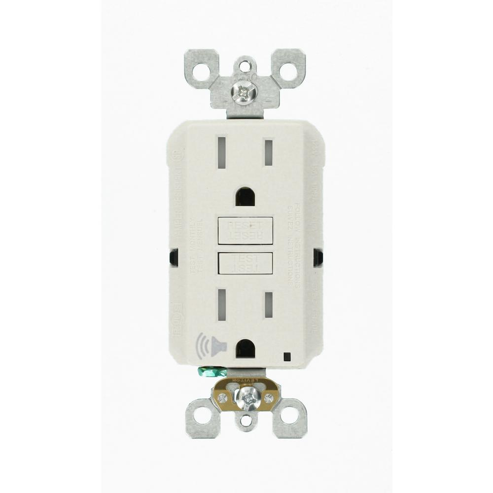 Leviton Leviton SmartlockPro 15 Amp 125-Volt Self-Test Tamper-Resistant GFCI Outlet with Audible Trip Alert, White