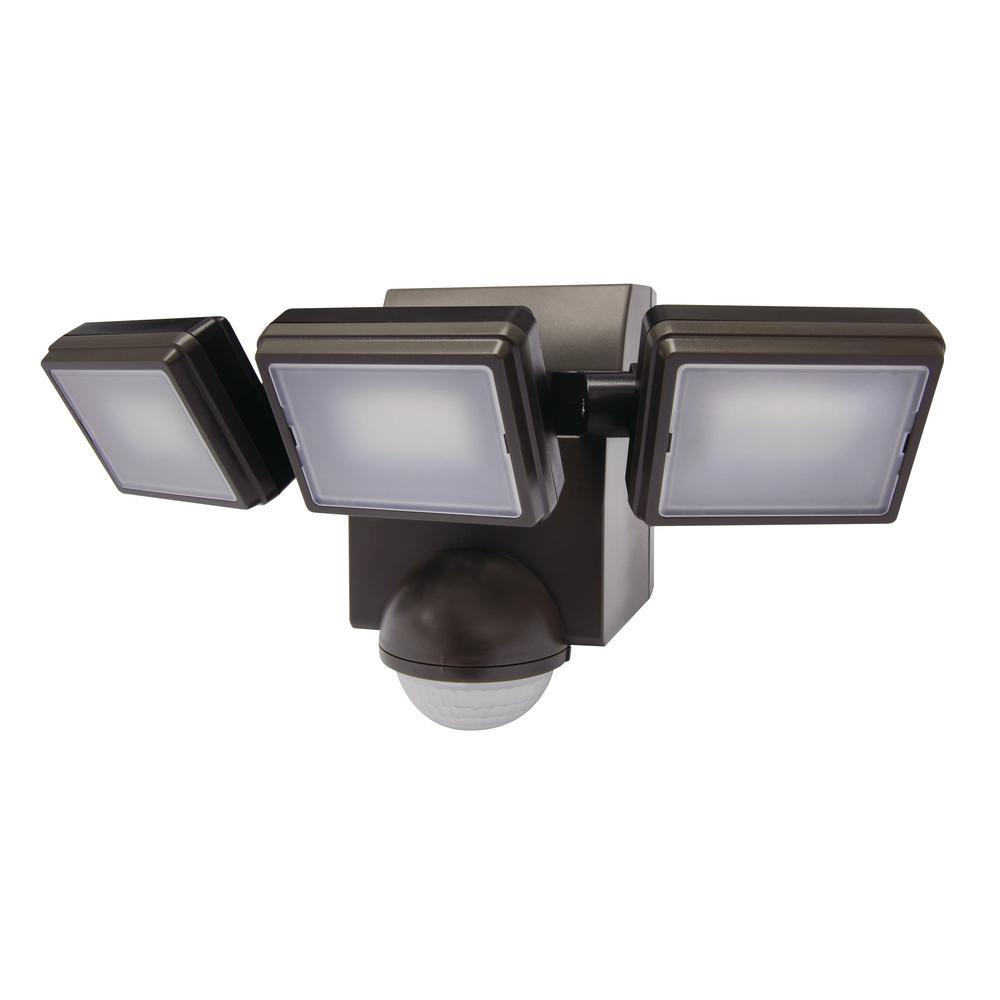 1000 Lumen 180- Degree Bronze LED Battery Motion Sensor Light