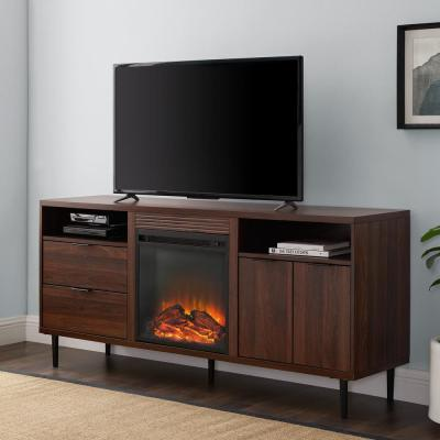 60 in. Dark Walnut Composite TV Stand with 2 Drawer Fits TVs Up to 66 in. with Electric Fireplace