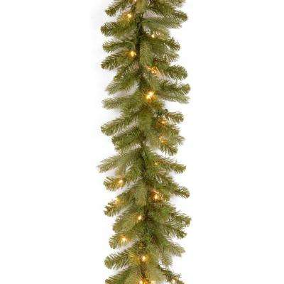 9 ft. Downswept Douglas Garland with Warm White LED Lights