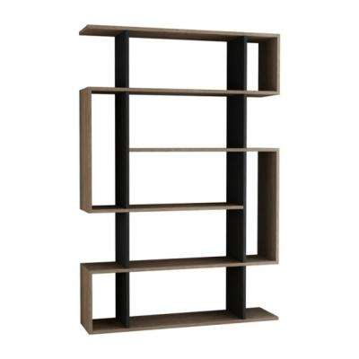 Blair Oak and Anthracite Mid-Century Modern Bookcase