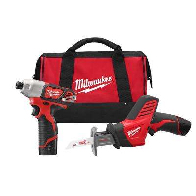 M12 12-Volt Lithium-Ion Cordless Impact Driver/Hackzall Combo Kit (2-Tool) w/(2) 1.5Ah Batteries,Charger,Tool Bag