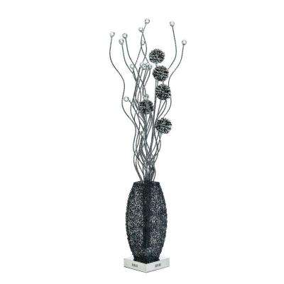 56 in. Black Floor Lamp with Crystals Pictured with Cool White LED Bulbs
