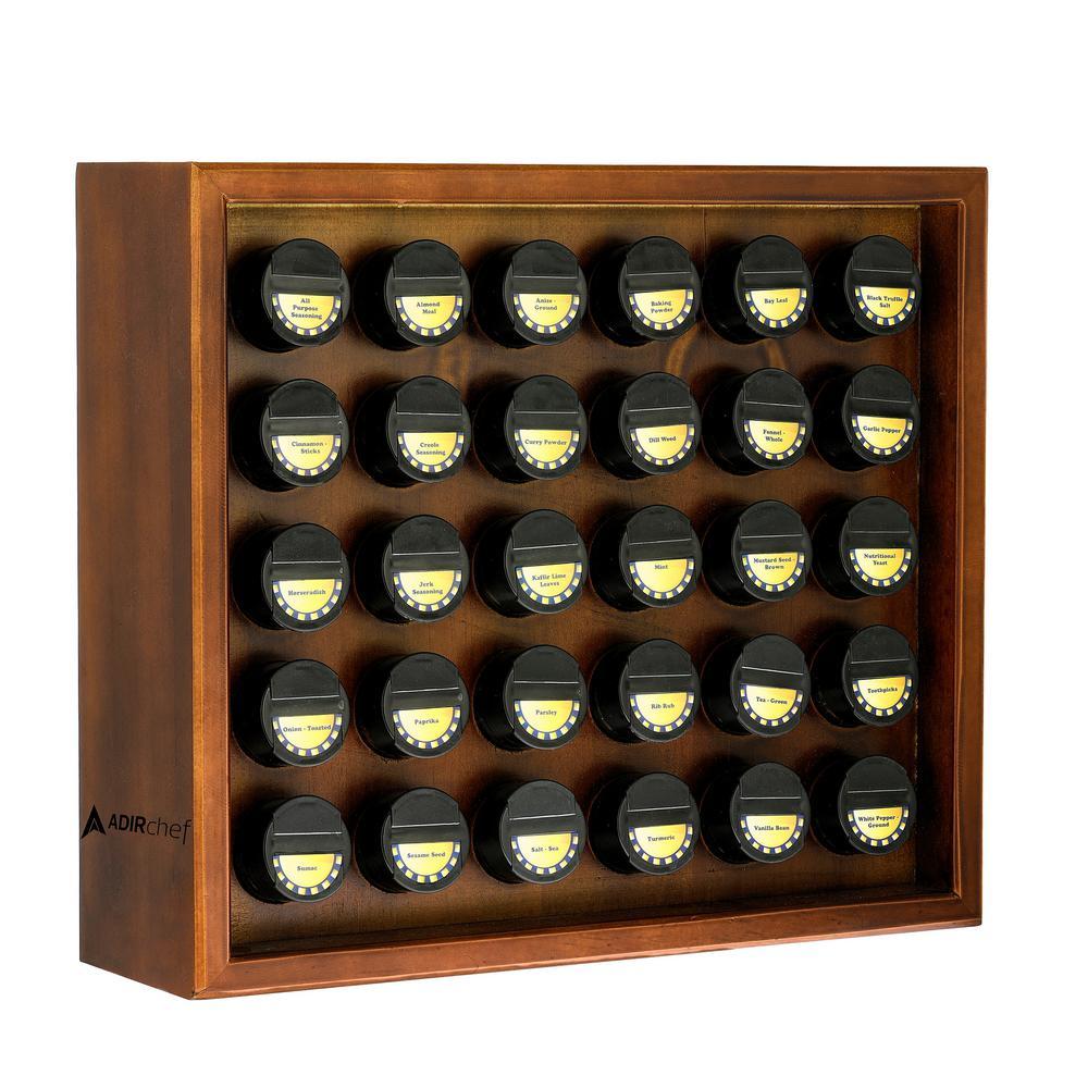 AdirHome 30.4 oz. Jars Walnut Wood Spice Rack (31-Piece) 801-30-WNT