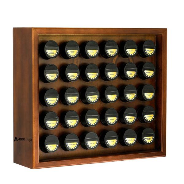 Walnut Wood Spice Rack with 30 Jars