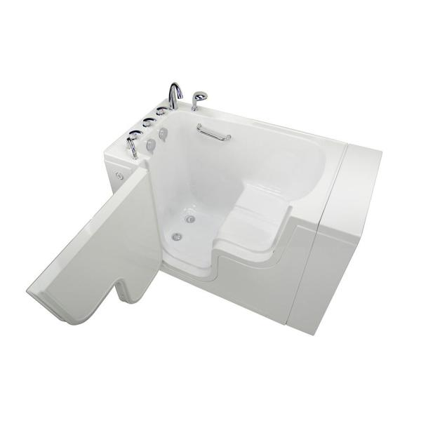 Ella Wheelchair Transfer 52 In Acrylic Soaking Walk In Tub In White With Faucet Set Heated Seat And Left 2 In Dual Drain Ola3052 L Hhb The Home Depot