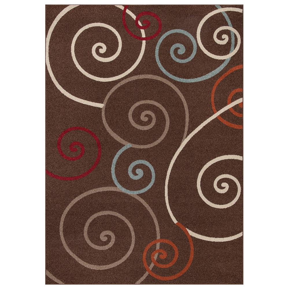 Concord Global Trading Chester Scroll Brown 3 Ft X 4 Ft Area Rug 97783 The Home Depot