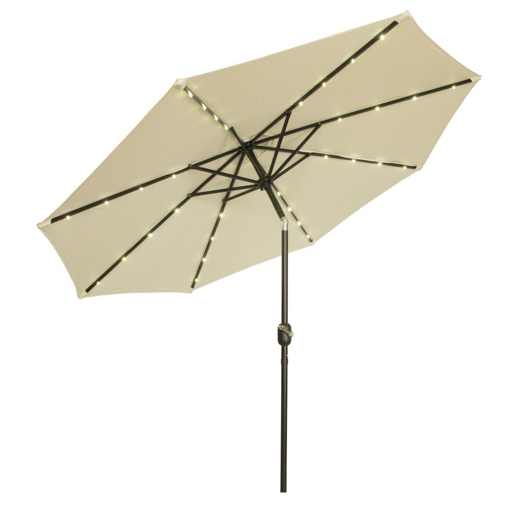 9 ft. Deluxe Solar Powered LED Lighted Patio Umbrella in Beige