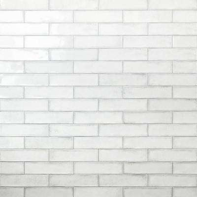 Moze white 3 in. x 12 in. 9mm Ceramic Subway Wall Tile Sample